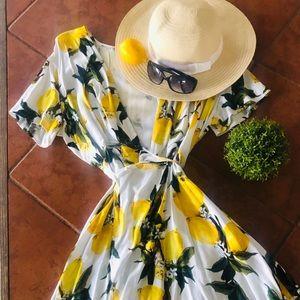 White and yellow lemon print wrap Dress xl New